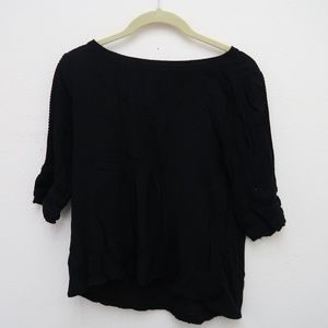 Ann Taylor LOFT Black Pleated Top Half Sleeve